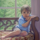 Cade, full-length pastel portrait
