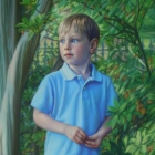 Ty, full-length pastel portrait