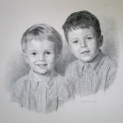 charcoal portrait two boys